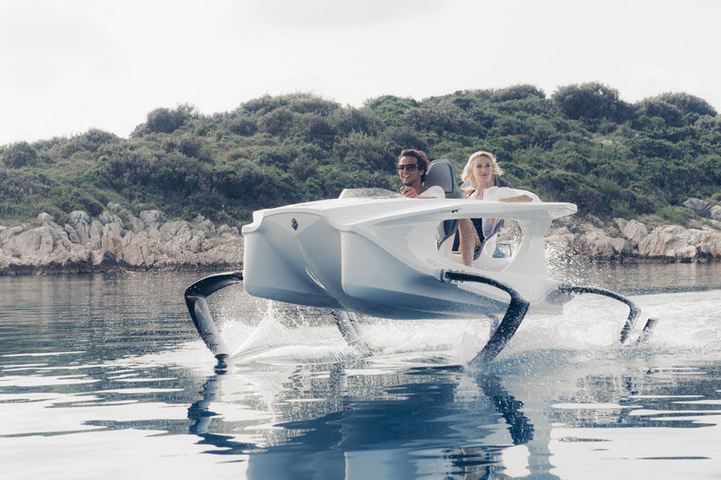The Q2S electric watercraft by Quadrofoil has a sleek design that allows it to lift out of the water and simulate the feeling of flying.