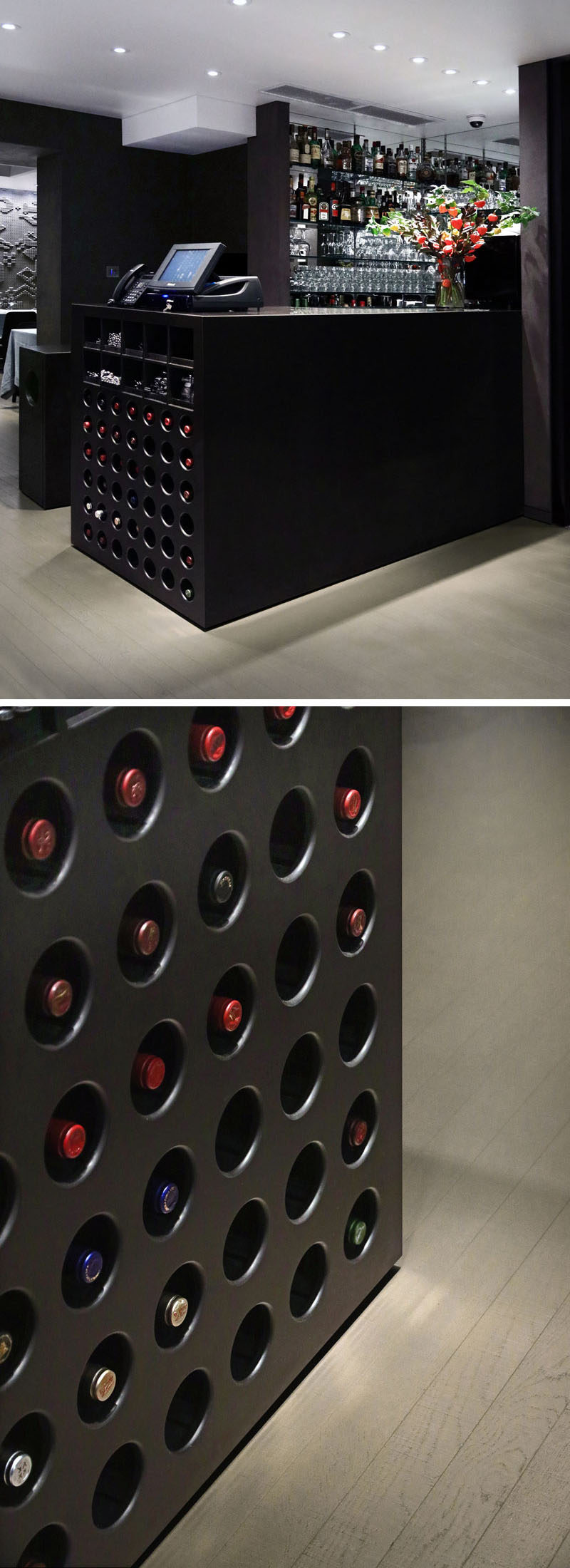 This bar and reception area in a London restaurant features a multi-functional counter made from Corian in a 'coffee-bean' brown. Beneath the counter is a wine display that houses the wine bottles flush with the edge of the counter.