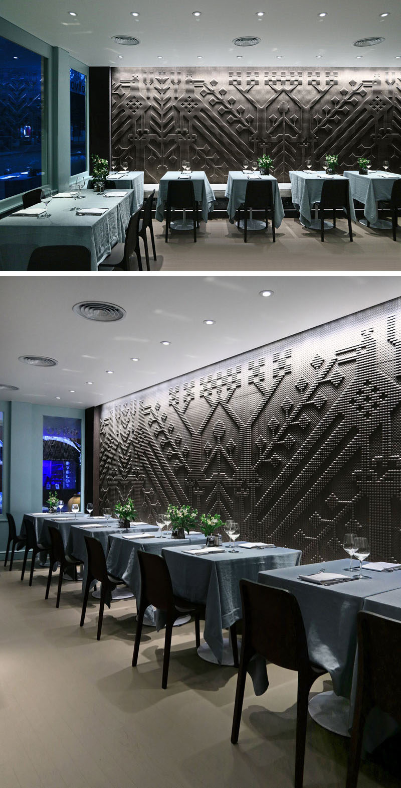 Wall Decor Ideas - Once in the main dining room of this contemporary restaurant, you're eye is immediately drawn to the the first of two large wall tapestries made from finely chiseled natural stone.