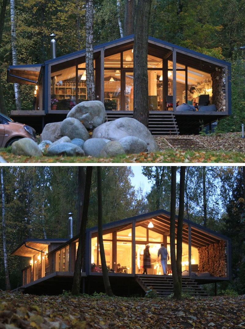This Rustic Modern House In A Forest Has A Modular Design, With Metal  Framing Combined