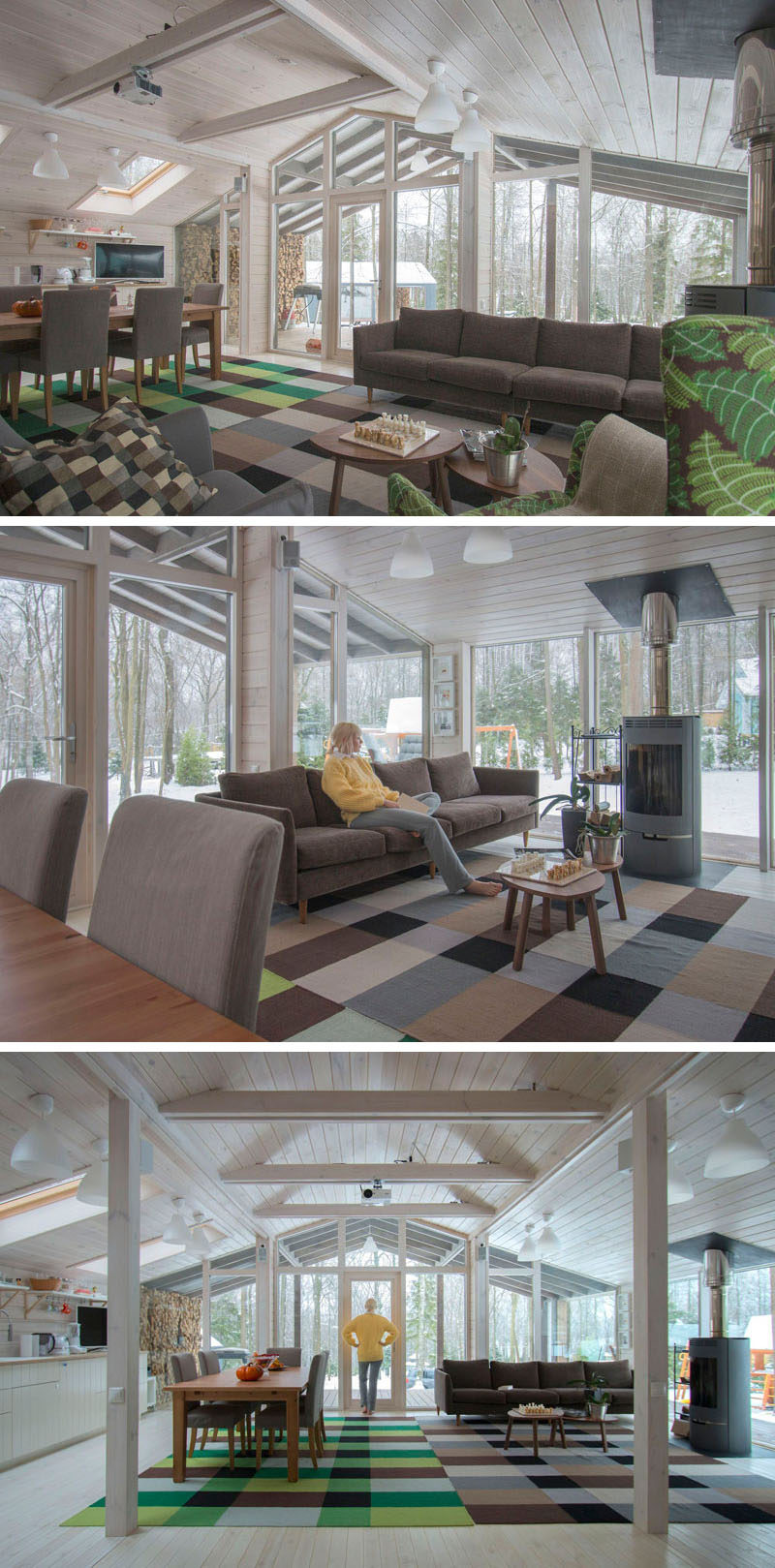 Stepping into this rustic modern house, you can see that the interior is covered in solid pine wood that's then been painted white. The main area is an open floor plan and rugs in different colors help to define the living and dining areas.