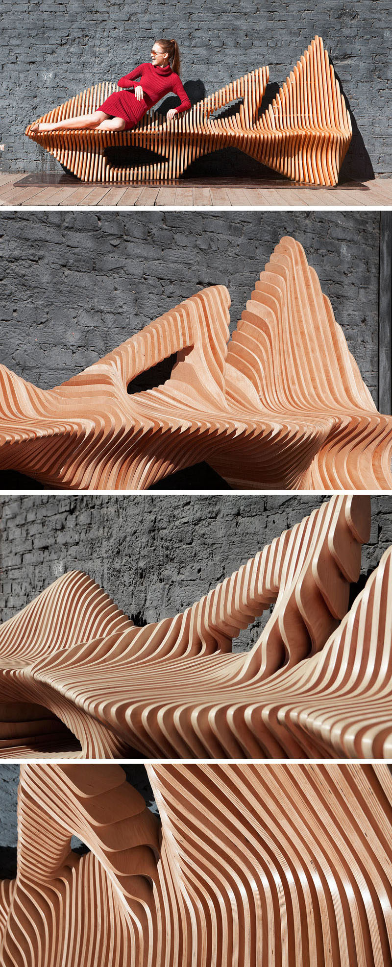 Oleg Soroko has designed an organically shaped, sculptural wooden bench named the Falcon Bench, inspired by the bird of the same name.