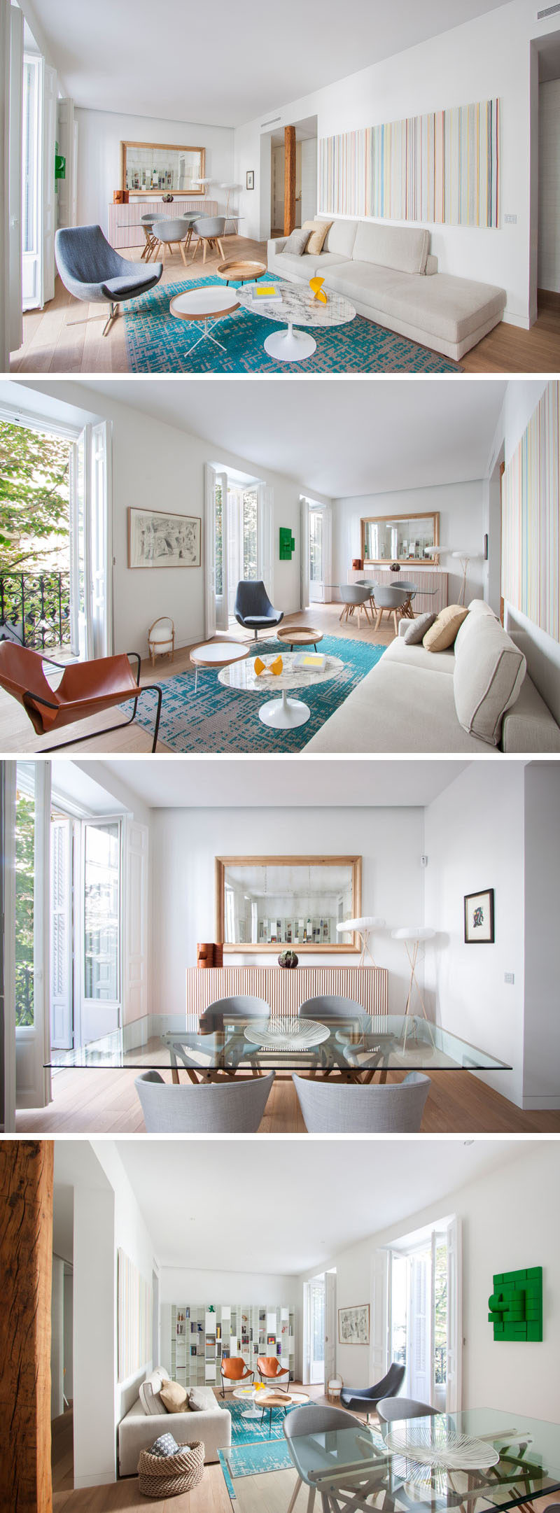 In this modern apartment, the living room and dining room share the open floor plan, while a large mirror on the wall makes the room appear larger than it is. Pops of color in the decor, rug and artwork, help to brighten the space. Large windows open up to a Juliet balcony and provide plenty of natural light.