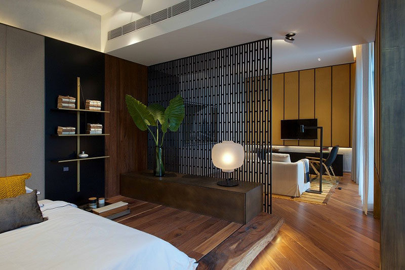 Interior Design Ideas ? Use A Screen As A Room Divider In A Small Apartment Bedroom