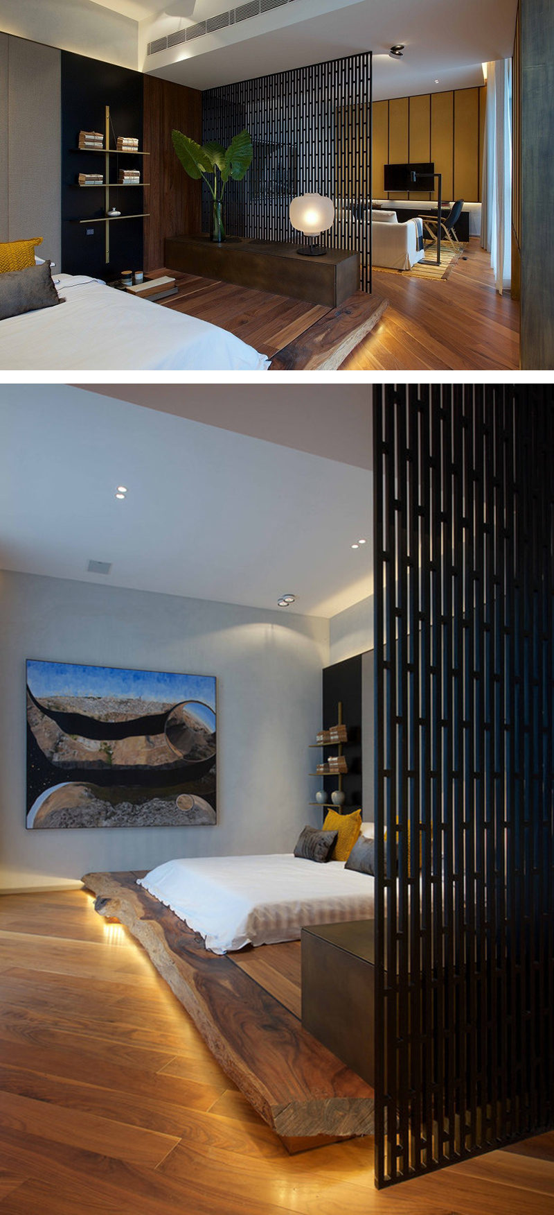 In this small apartment the living room and bedroom share the same area. The bedroom space was separated from the rest of the apartment by using a screen for a divider and placing the bed on a wood platform with hidden LED lighting.