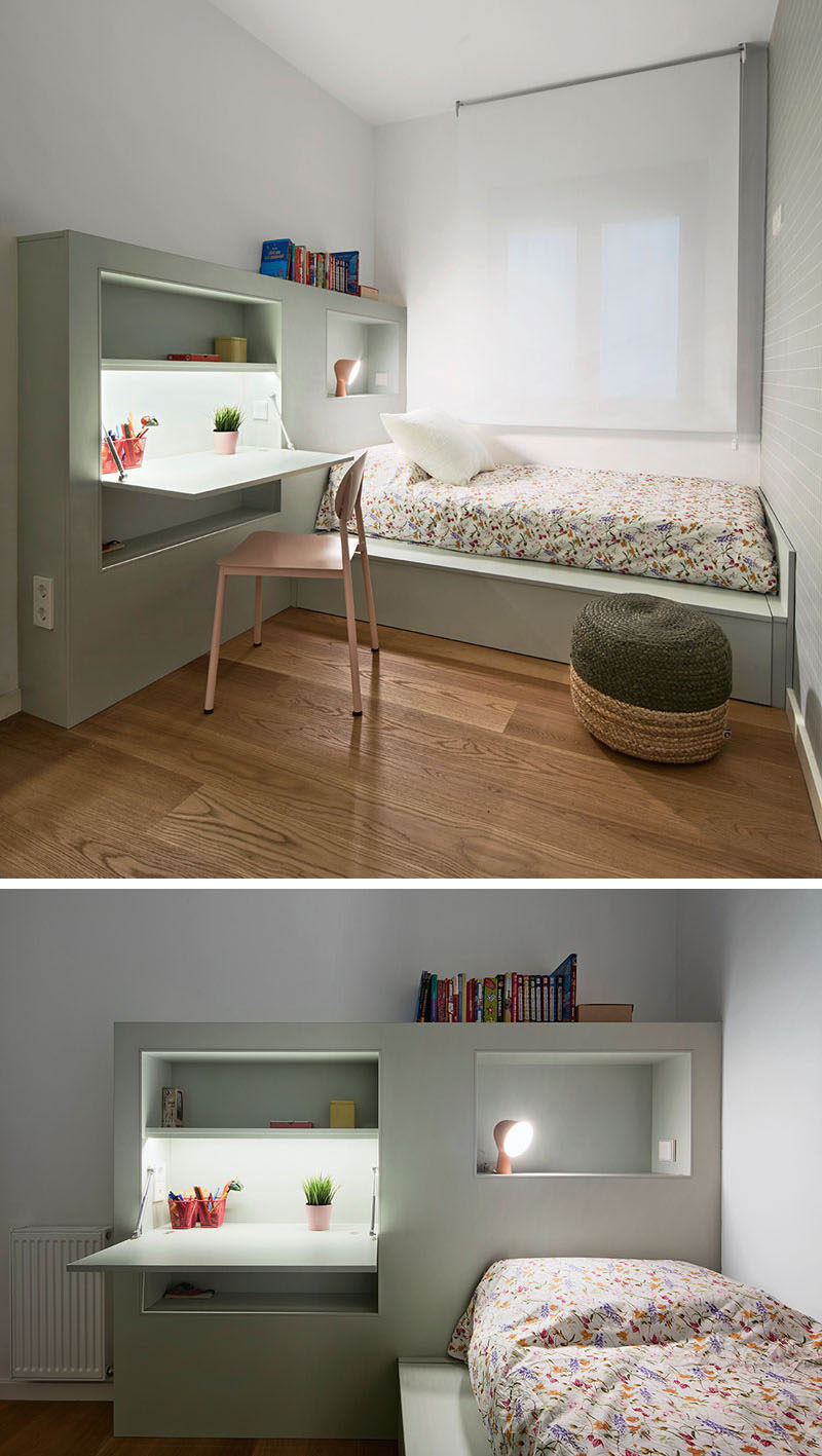 This small kids bedroom combines the bed frame a desk - Bed frames for small rooms ...