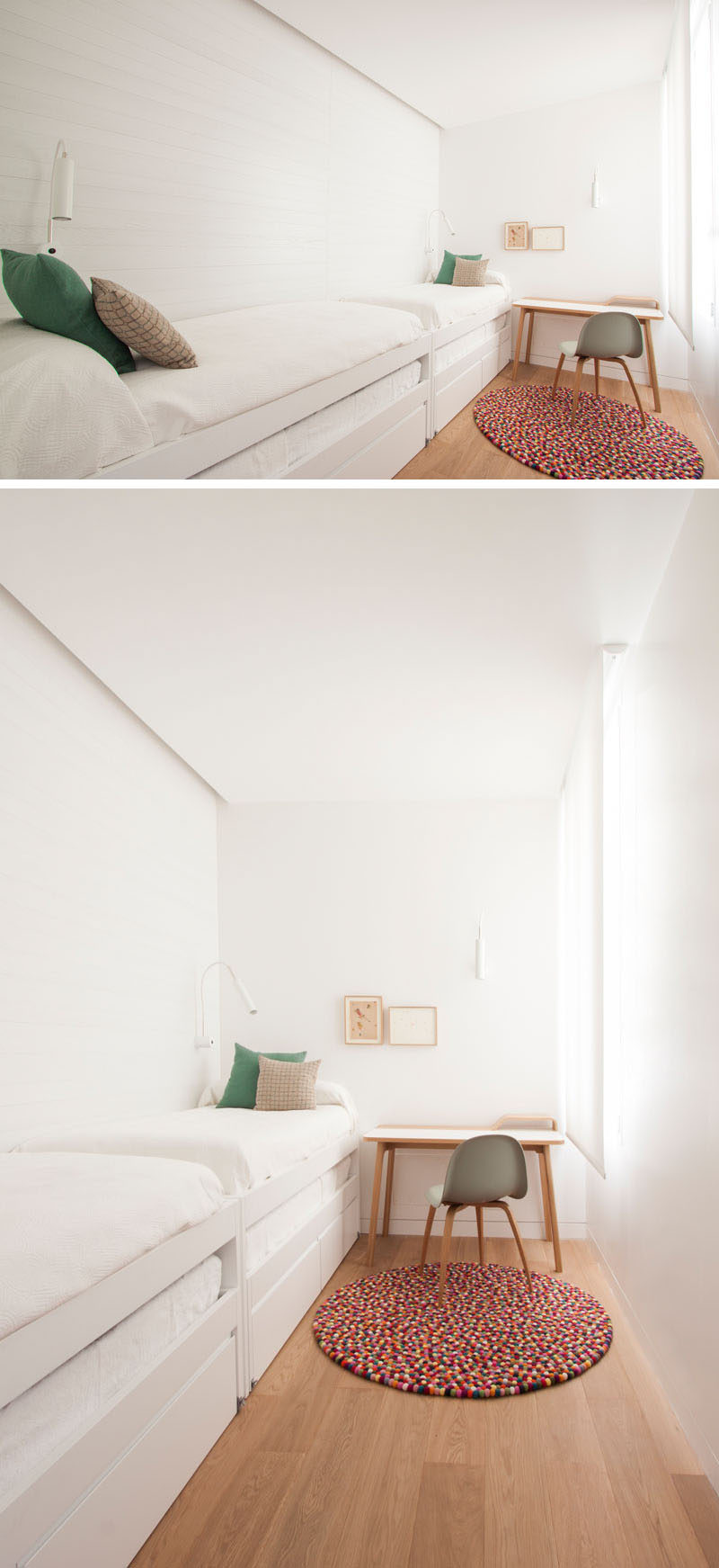 In this modern children's bedroom, that's very long and narrow, two beds have been included along the white wood slat wall, and those two beds have trundle beds for when guests stay over. A small desk provides a place to write a note by the window.