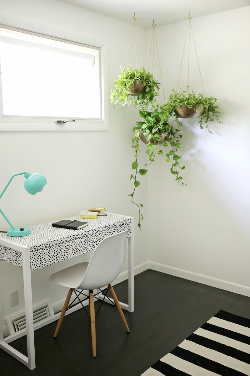 6 Ways To Include Indoor Vines In Your Interior | Putting plants up high in the corner of a room lets them tumble over the sides and adds a pop of natural color to the room.