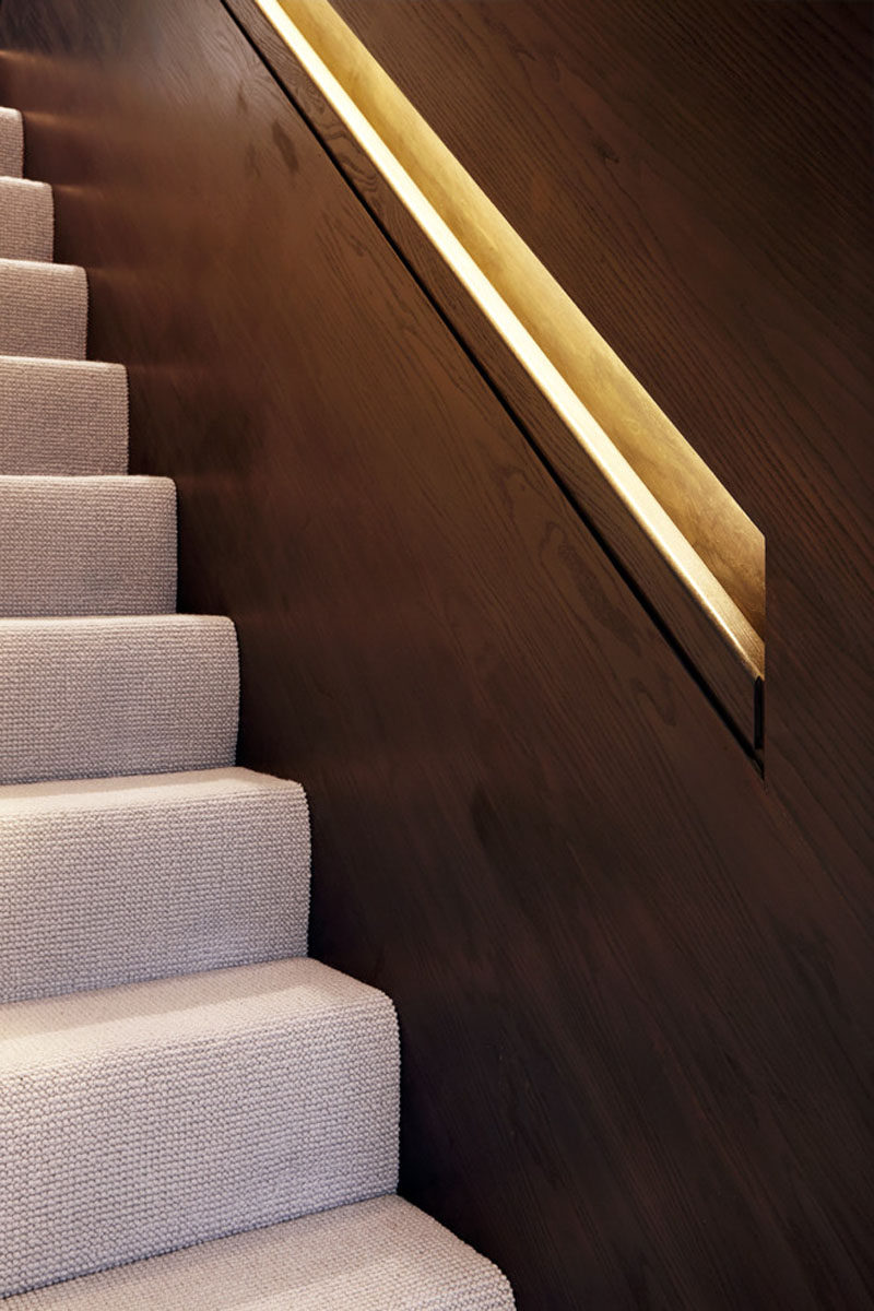 Hidden Handrail Lighting Is A Creative Idea For Staircase