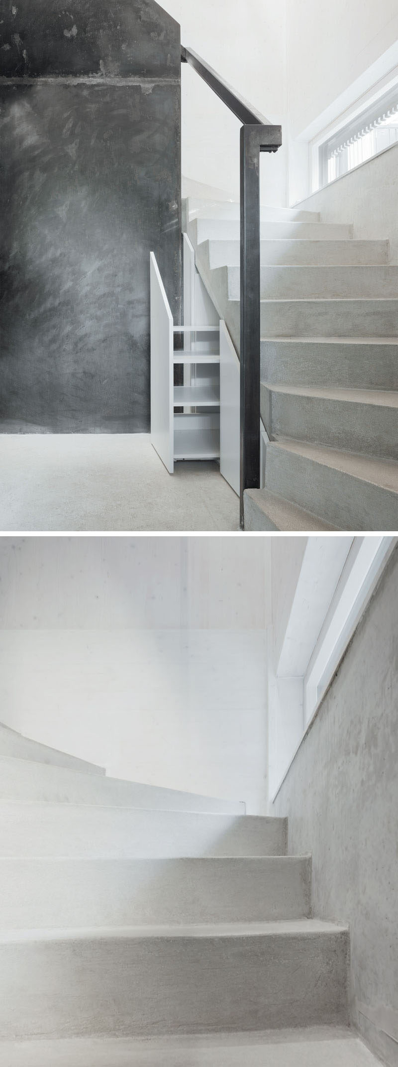 Inside this modern home, storage has been hidden underneath the concrete and steel stairs. A small window half way up the stairs lets natural light in to brighten the space.