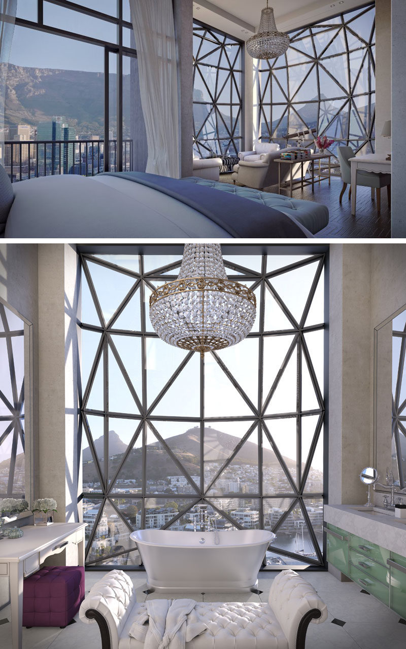 As part of the design of The Silo, a hotel in South Africa, are the huge windows. They are made from 56 hand-cut panels of glass and they stand 5 ½ meters (18 foot) high, plus they dome out about 1 meter (3 feet).