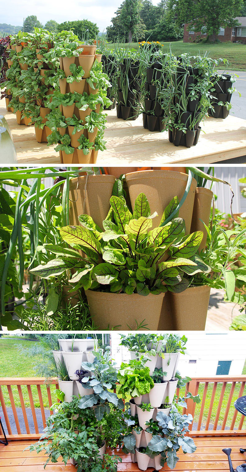 5 Vertical Vegetable Garden Ideas For Beginners / These stackable pots make growing your own vegetables a breeze. They can grow anything from lettuce and onions to corn and zucchini.