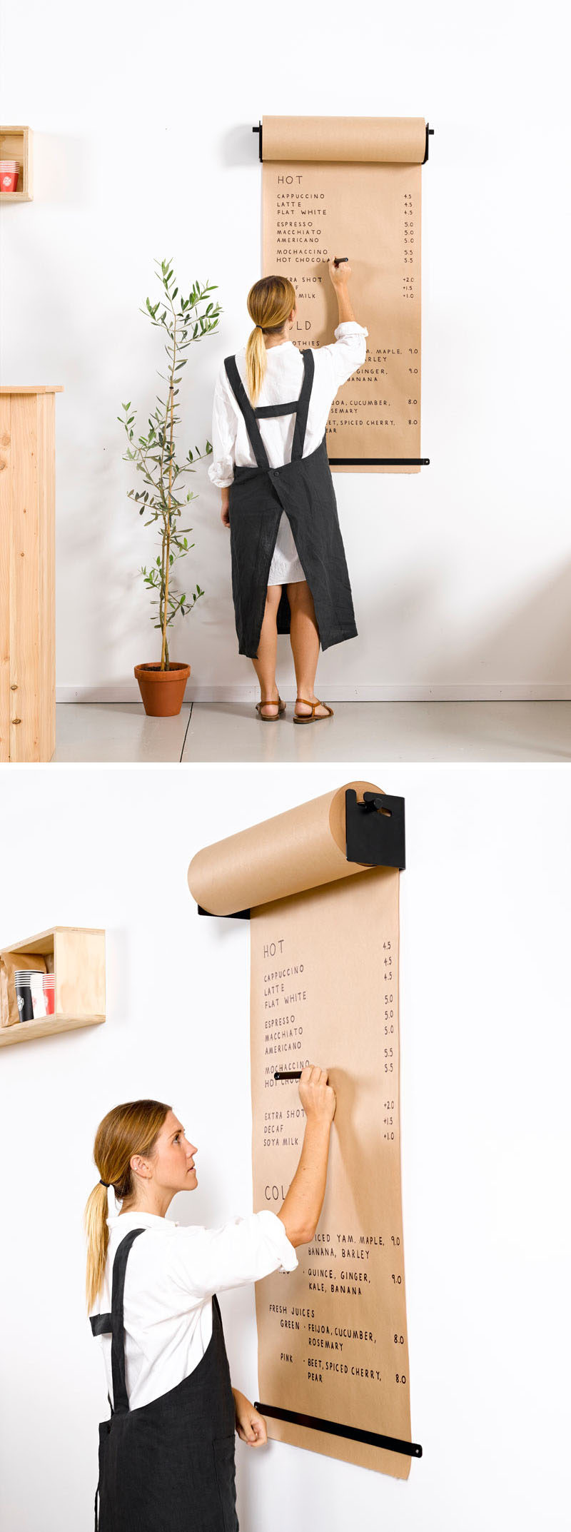 Minimalist and functional, the Studio Roller, designed by lifestyle company George & Willy, is a fun way to hang butcher's paper.