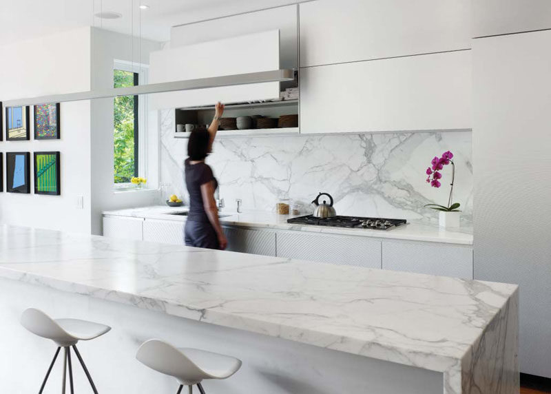 Kitchen Design Ideas - 9 Backsplash Ideas For A White Kitchen // Add a stone