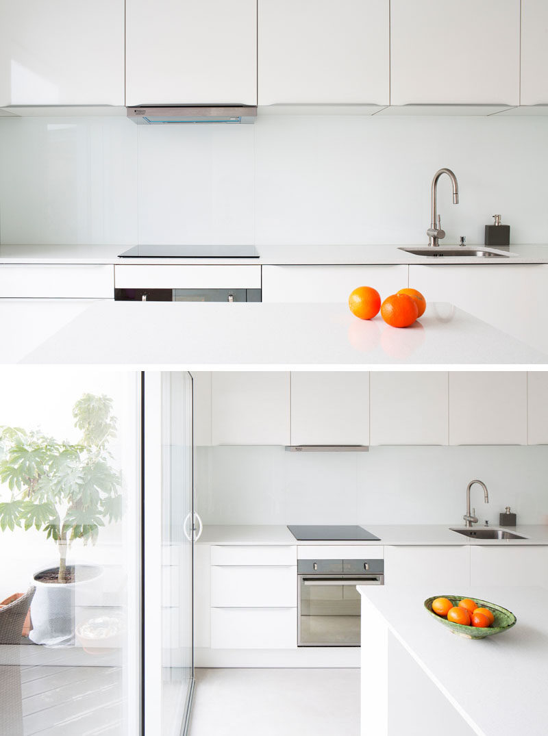 If the all white look is something you really want to stick with leave the backsplash white youll have a completely unified kitchen thats bright clean