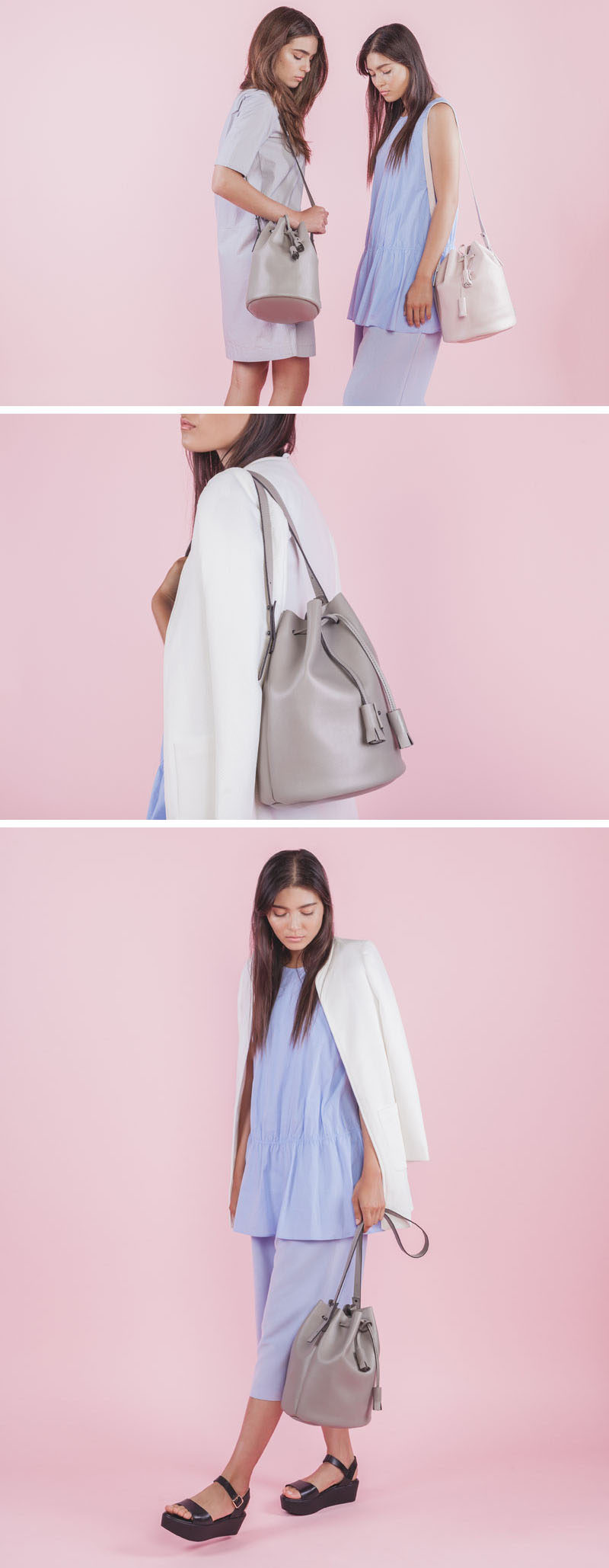 Women's Fashion Ideas - The M.R.K.T.'s Spring 2017 Collection // This minimalist bag puts a modern twist on the classic bucket bag style. The bags are available in a number of colors and are made from either MCRO LEATHER or MCRO SUEDE to create a simple bag with a smooth exterior and a surprising durability.