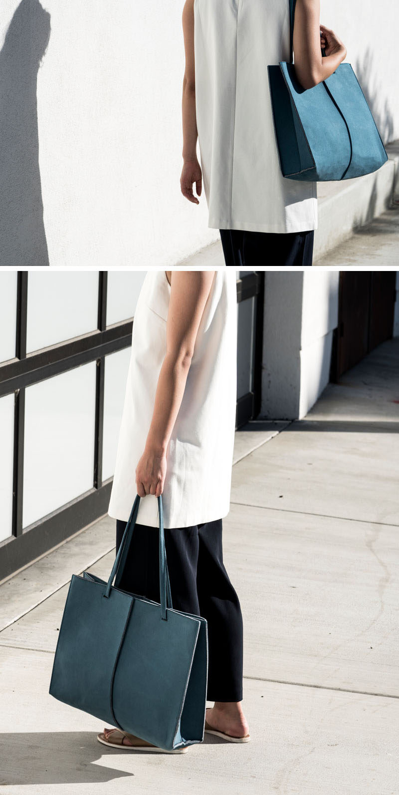 Women's Fashion Ideas - The M.R.K.T.'s Spring 2017 Collection Featuring Minimalist Totes // This lightweight tote is the perfect everyday carry-all bag. The long shoulder straps make it easy to throw over your shoulder and the hardworking material allows it to keep its shape.