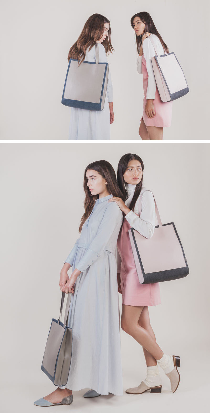 Women's Fashion Ideas - The M.R.K.T.'s Spring 2017 Collection Featuring Minimalist Bags // The two-toned Clark Tote features a structured body made from strong felt and MCRO SUEDE straps. Together the materials create a unique looking bag that's durable, lightweight, and versatile.