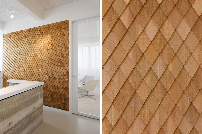 Interior Design Idea In This Contemporary Office The Designers Used Wooden Shingles On