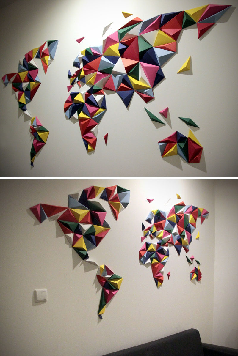 3 Dimensional Wall Art 10 world map designs to decorate a plain wall | contemporist