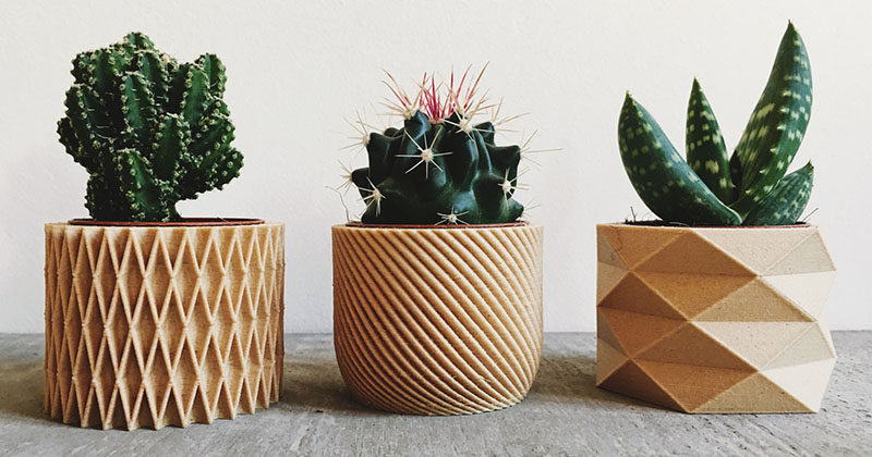 Planters Are Made From Printed Wood
