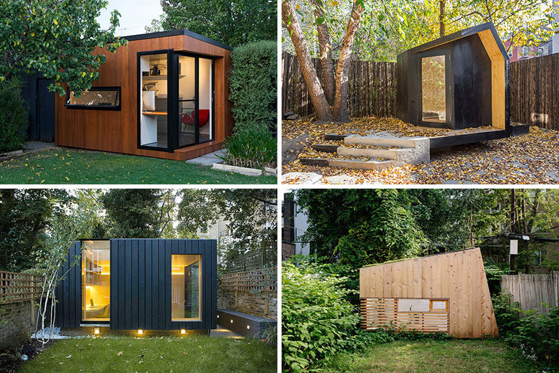 Here are 14 examples of modern backyard home offices, art studios, gyms, and hideouts.