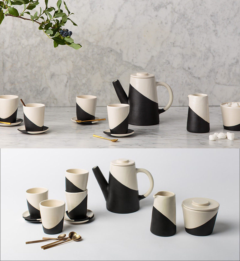 This black and white diagonal stripe ceramic tea set comes with the tea pot, cups and saucers, a milk jug, and a sugar bowl, all you have to do is brew the tea.