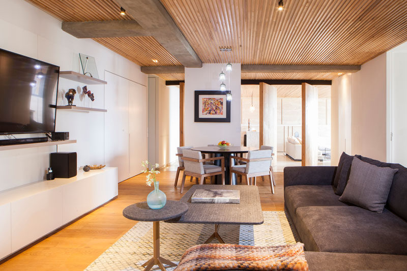 An Elegant Apartment With A Wood Slat Ceiling Contemporist