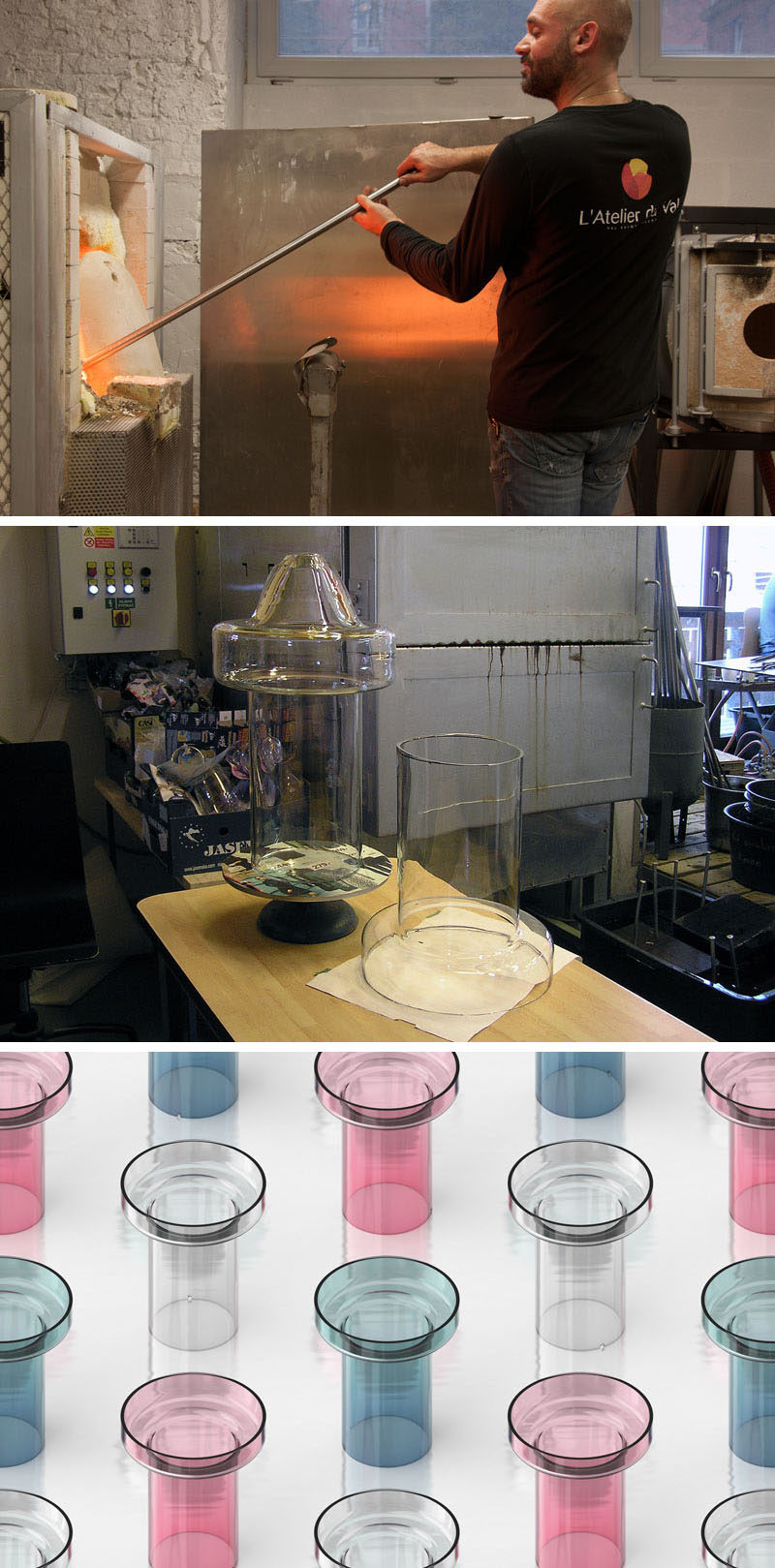 The prototypes and creative process of a new glass table lamp being designed.