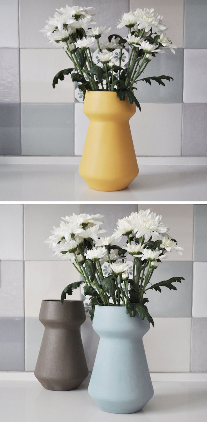 Inspired by mid-century design, these vases have a simple minimalist design, come in a range of pastel colors, and would suit any spring decor theme.