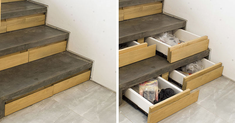 This Concrete And Wood Staircase In A Modern Indonesian House, Has Hidden  Stair Storage Within