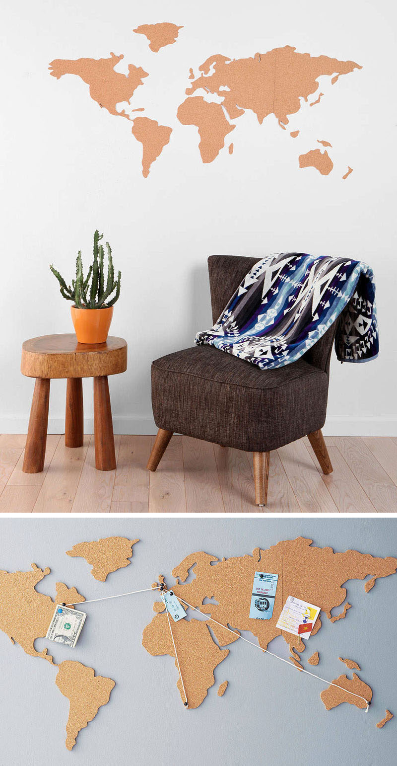 10 world map designs to decorate a plain wall contemporist keep track of your travels with a cork board map use pins and string to map your trips and stick little photos or keepsakes directly onto the map to create gumiabroncs Choice Image