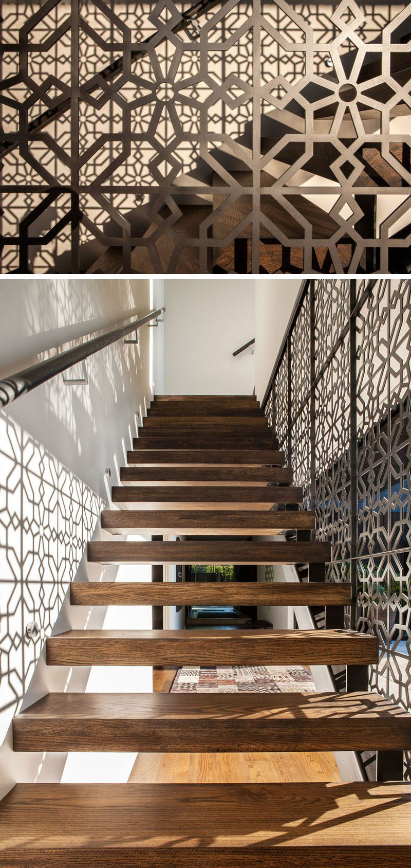 The Artistic Pattern On The Railing Of One Side Of This Staircase Not Only  Creates A Unique Design Detail In The Home, But Also Creates The Pattern On  The ...