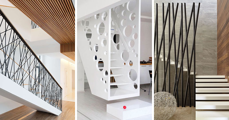 11 creative stair railings that are a focal point in these for Modern house stairs