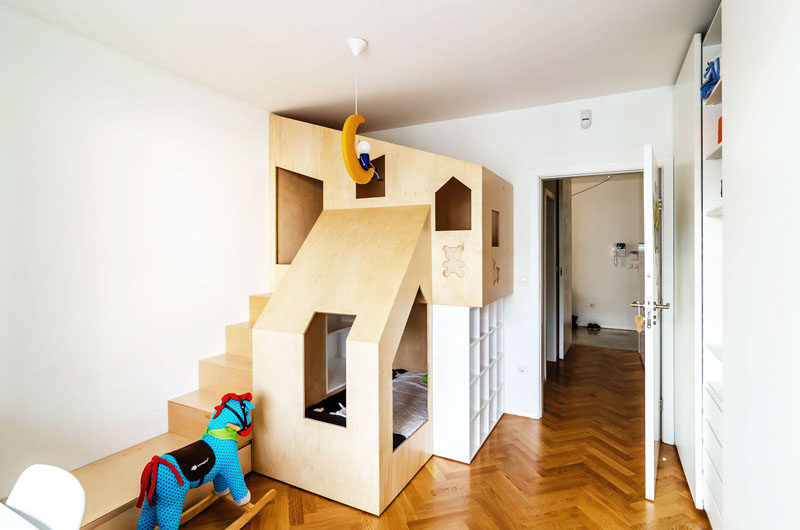 Kids Bedroom House a custom bunk bed tucks neatly into this small kids room