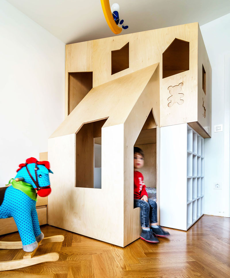 This Custom Modern Plywood Bunk Bed Design In A Small Kids Bedroom Houses Two Beds