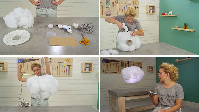 Create this DIY Interactive Cloud Lamp that looks like a cloud and can be programmed with an app to respond to the sounds of thunder, rain, and music.