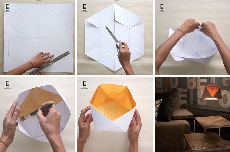 If you're into origami-inspired or geometric modern home decor, here's a simple DIY Geometric Paper Lampshade that will brighten up any interior.
