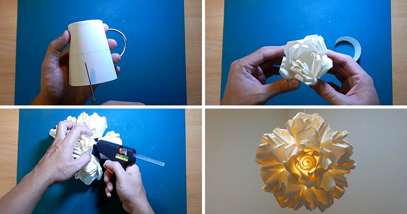 Create This Diy Rose Pendant Lamp From Paper Cups
