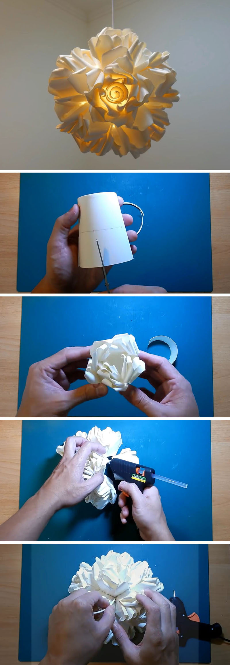 Create this artistic DIY paper rose pendant lamp. Individual paper roses are created by cutting, rolling, bending and gluing paper cups, that are then arranged and glued to form a lampshade.