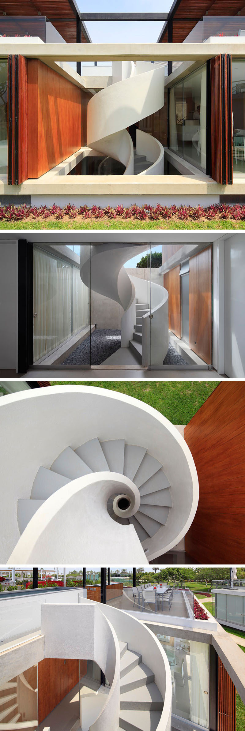 The white and grey outdoor spiral staircase of this modern house climbs all the way from the bottom level of the home up to the rooftop deck.