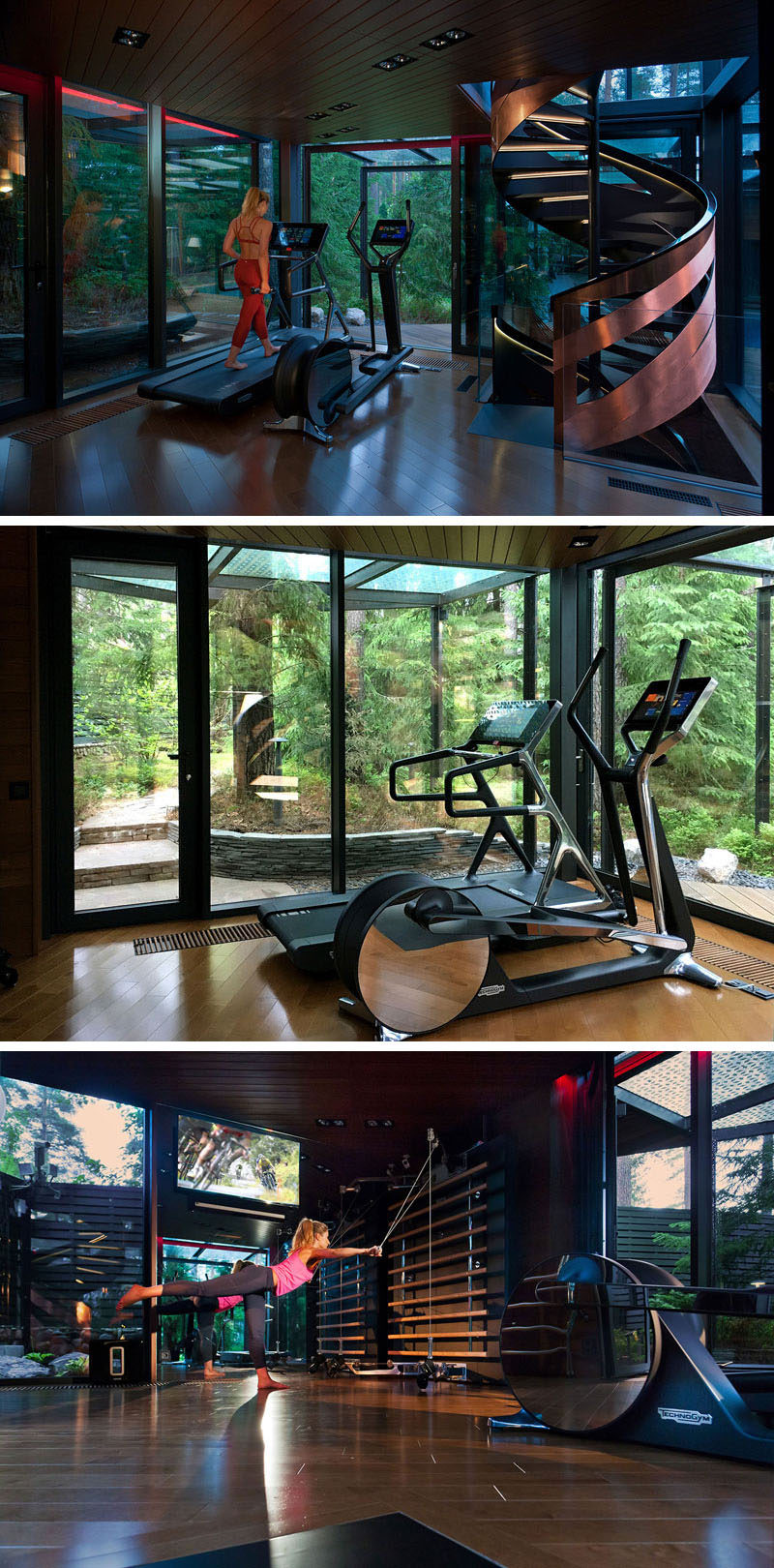 Inside this modern gym there are three floors that are connected by a copper-clad spiral staircase.
