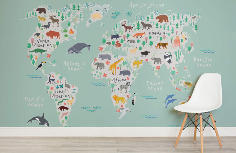 These fun world map wallpapers are a great way to create a feature wall in a kids bedroom that's both artistic and educational.