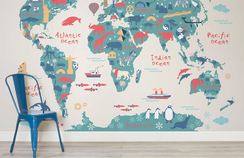 10 world map designs to decorate a plain wall contemporist these fun world map wallpapers are a great way to create a feature wall in a gumiabroncs Choice Image