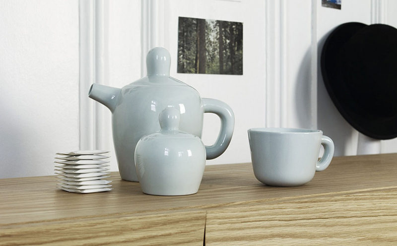 The soft curved lines of this modern tea set and the subtle blue color of it make it the perfect addition to any spring time tea party.