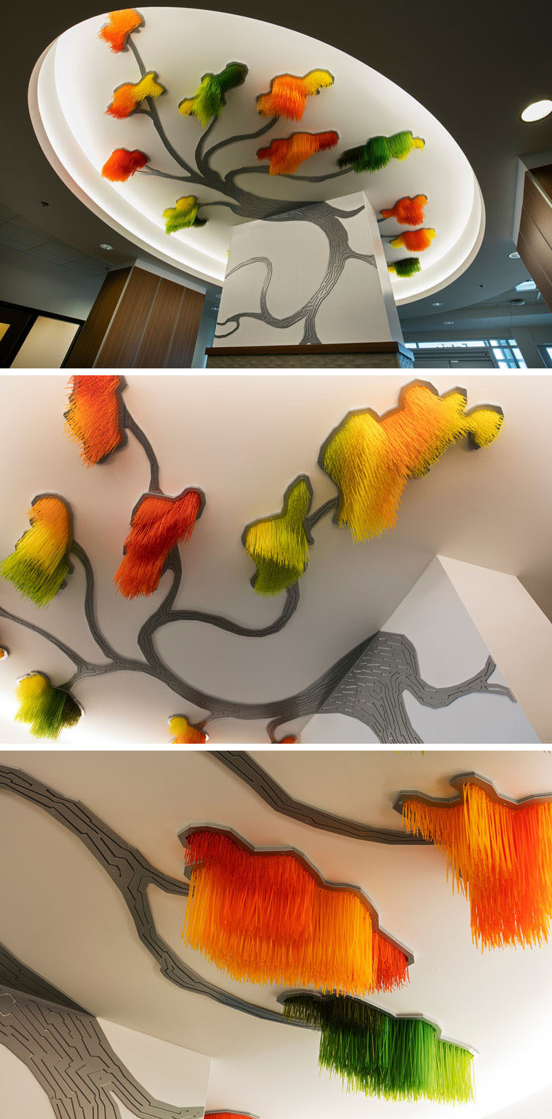 Artist Elisabeth Picard has created this large tree-shaped modern art installation made from from dyed zip ties, painted aluminum, and LED projectors. The piece is called named 'Sous le grand arbre: racine, feuille et fleur', which translates to 'Under the large tree: root, leaf and flower'.
