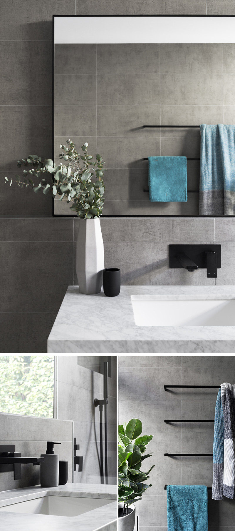 In this modern grey and white bathroom, matte black accents like the hardware, towel bars, soap dispenser, and toothbrush holders add a sophistication to the bathroom, while the touches of blue in the towels and green in the plant add a pop of color to the otherwise neutral space.