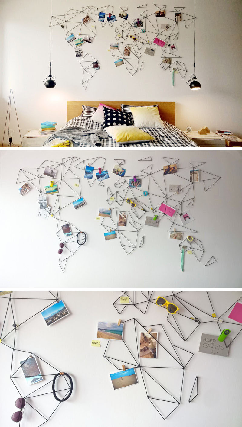 10 world map designs to decorate a plain wall contemporist these geometric world maps are made from wire that lets you clip treasures and photos from your travels onto the map so you can personalize your wall even gumiabroncs Gallery