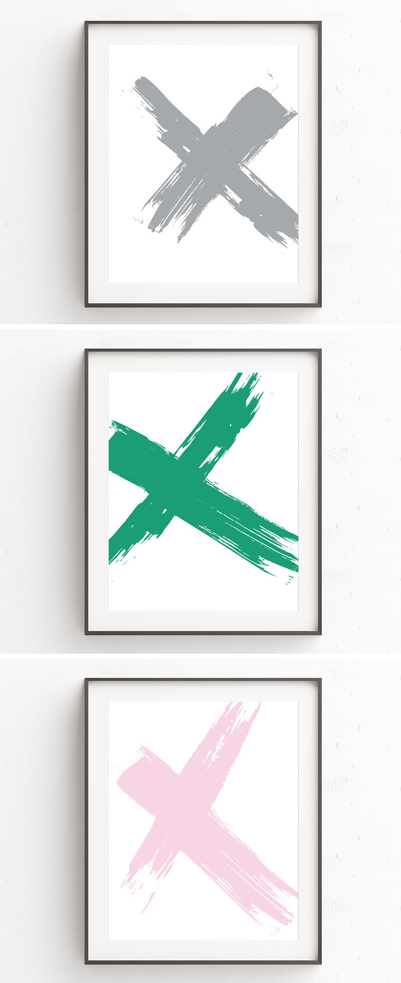 Kim Schwieters of Oju Design, creates minimalist and modern art prints in a huge range of colors, styles, and themes, like this set of X art prints that look like they were created by thick brush strokes swiped across the canvas.