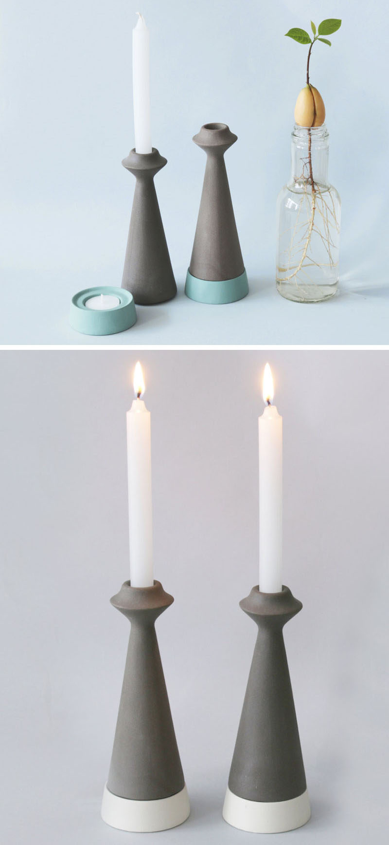 Made From Locally Sourced Basalt Rock Clay, The Candle Holders Are Designed  To Be A Two In One Modular Piece That Can Be Used To Hold Taper Candles On  Top ...